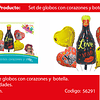 Sets De Globos Botella/Corazones Te Amo 5pcs