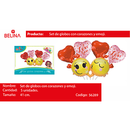 Sets de globos caritas/corazon rojo/rosa i love you 5pcs