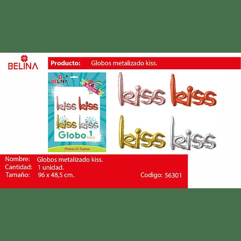 Globo Metalico Kiss 96x48.5cm 1pcs Color Aleatorio