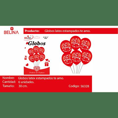 Sets Globos De Latex Rojos/ Te Amo 30cm 6pcs