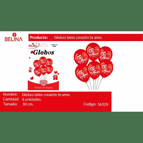 Set Globos De Latex Te Amo Rojo 30cm 6pcs
