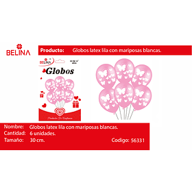"Sets globos de latex mariposas rosa 30cm 12"" 6pcs"