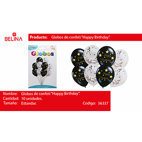 Set globo de latex h-b negro/globo challa 10pcs