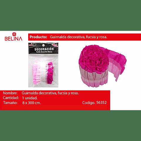 Feston decorativo fucsia/rosa 8x300cm 1pcs