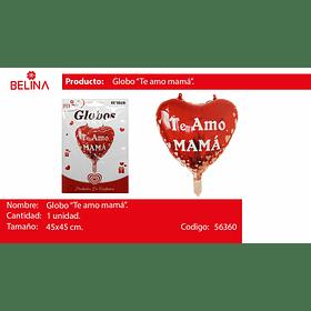 Globo te amo mama corazones blancos 45*45