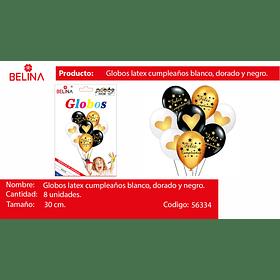 "Set globos de latex negro/oro f/c 30cm 12"" 8pcs"