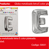 Globo Letra E Plata 16 Pulgadas