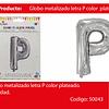 Globo Letra P  Plata 16 Pulgadas