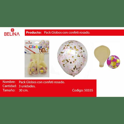 Globo Confeti Redondo Rosa