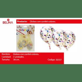 Globo confeti redondo colores