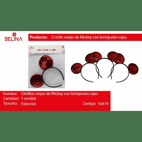 Cintillo De Orejas De Mickey Con Lentejuelas Rojas