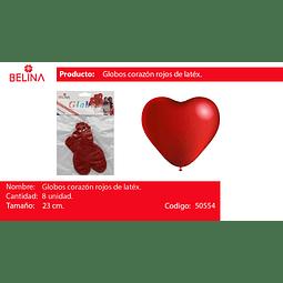 Globo corazon rojo 8 unid