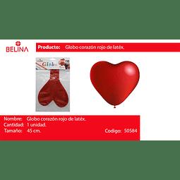 Globo corazon rojo 45cm