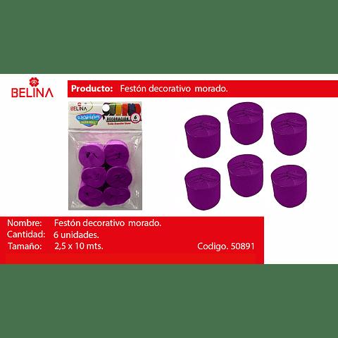 Feston Fino Morado Oscuro 6pcs 2.5cmx10m