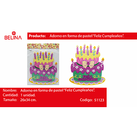 Adorno pastel feliz cumpleaños rosa