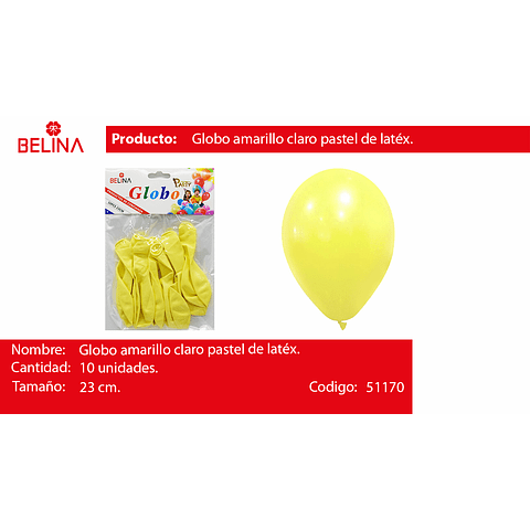 Globo pastel 10unid amarillo