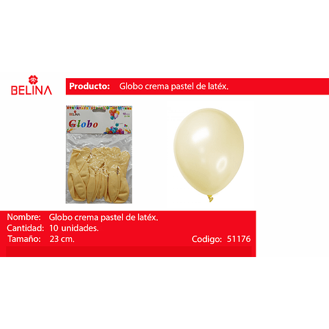 Globo pastel 10unid crema
