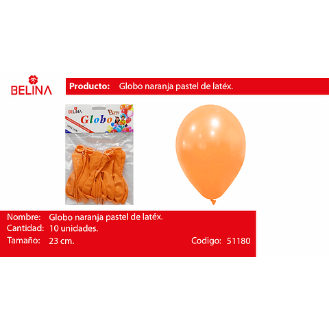 Globo Pastel 10unid Naranja