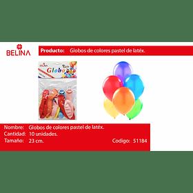 Globos pastel 10unid multicolor