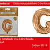 Globo Letra G Oro Rosa 16 Pulgadas