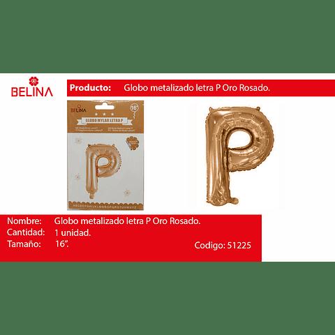 Globo letra P oro rosa 16 pulgadas