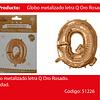 Globo Letra Q Oro Rosa 16 Pulgadas