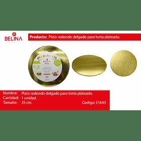 Plato torta redondo oro 35cm