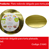 Plato Torta Redondo Oro 35cm 2mm