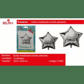 Globo metalico estrella 9 pulgadas plata