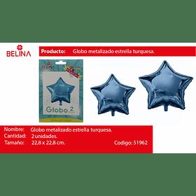 Globo metalico estrella celeste 2pcs 9 pulgadas