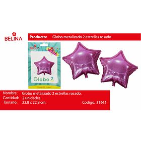 Globo metalico estrella rosa 2pcs 9 pulgadas