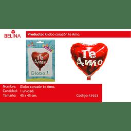 Globo Metalico Corazon Te Amo 18
