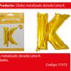 Globo Letra K Oro 30 Pulgadas