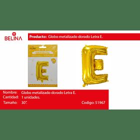 Globo letra E oro 30 pulgadas