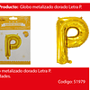 Globo Letra P Oro 30 Pulgadas