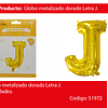 Globo Letra J Oro 30 Pulgadas