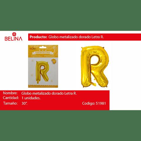 Globo letra R oro 30 pulgadas