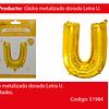 Globo letra U oro 30 pulgadas