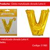 Globo Letra V Oro 30 Pulgadas
