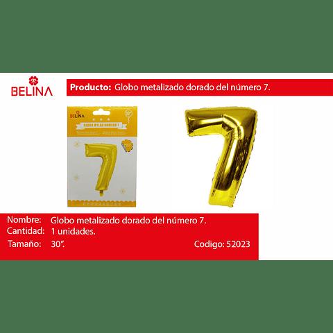 Globo número 7 oro 30 pulgadas