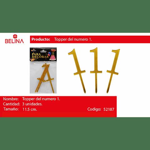 Topper acrilico numeros oro #1