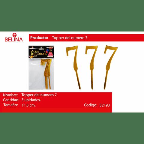 Topper acrilico numeros oro #7