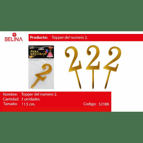 Topper acrilico numeros oro #2
