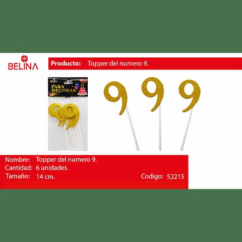 Topper brillante numeros oro #9