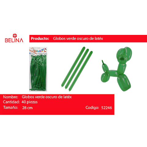 Globos largos verde 40unid