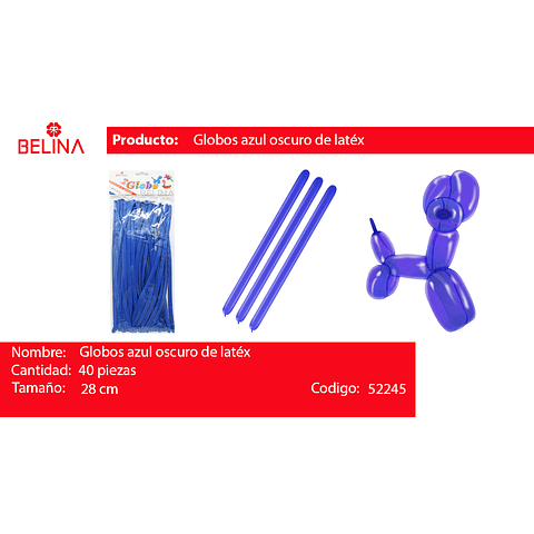 Globos largos azul 40unid