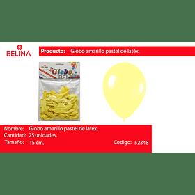 Globo pastel 25unid amarillo