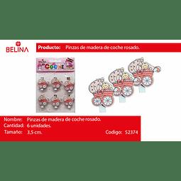 PINZA MADERA DE COCHE ROSA