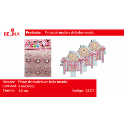 PINZA MADERA DE CUNA ROSA