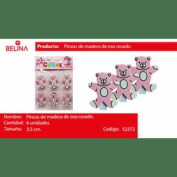PINZA MADERA DE OSO ROSA